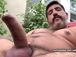 Thick Hairy Daddy Smoking and Jerking Off