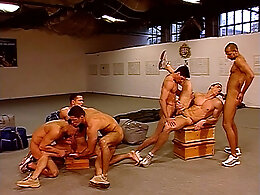 Group of ass fucked jocks cum in gym